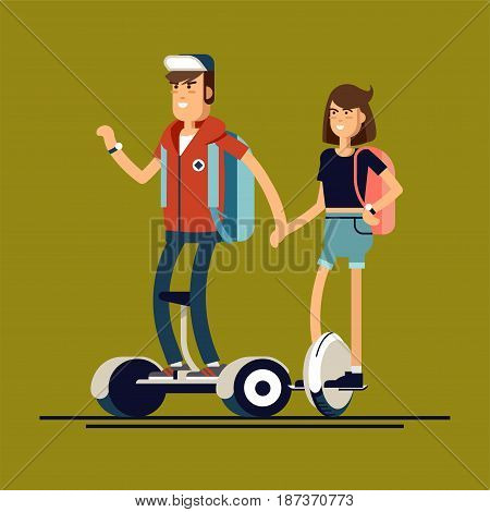 Young man on mini segway and woman on electric scooter mono wheel holding hands. Vector flat illustration. Mono wheel and mini segway as urban personal transports