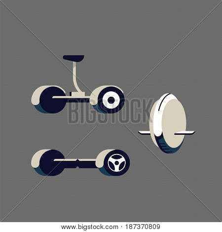 Segway. Monowheel or Solo wheel. Hoverboard or Gyroscooter. Set of vector illustrations. Self-balancing electric scooter. Alternative Eco Transport isolated on a blue background.