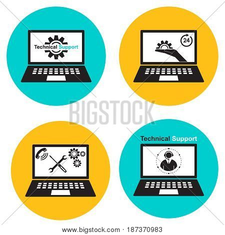 A set of icons technical support computer repair. The vector illustration in a flat style. Elements for design. Simple style.