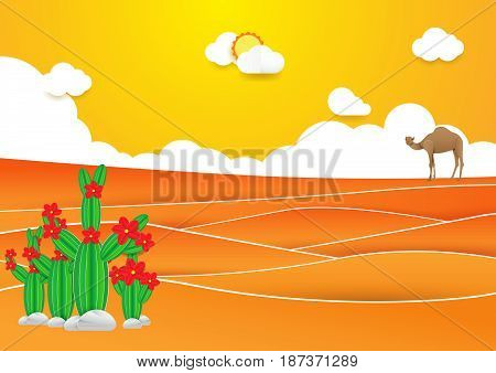 Desert landscape. Cactus and camel in desert with Sunset on a background. Paper art and craft style