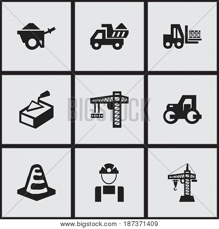 Set Of 9 Editable Construction Icons. Includes Symbols Such As Truck, Camion, Lifting Equipment And More. Can Be Used For Web, Mobile, UI And Infographic Design.