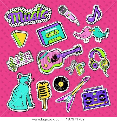Musical Stickers, Badges and Patches. Music Instruments and Teenager Style Elements Doodle. Vector illustrations