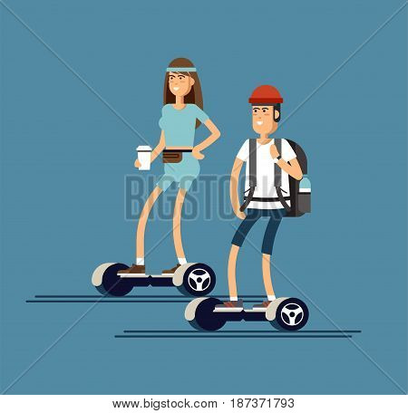 Young man and woman riding on two wheeled mini segway in park and with coffee paper cup. Vector illustration in flat style of modern urban entertainment device.