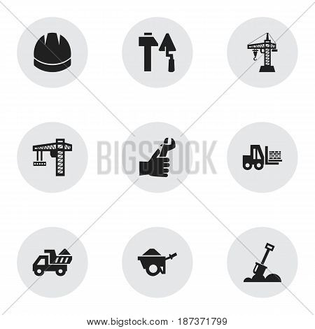 Set Of 9 Editable Building Icons. Includes Symbols Such As Elevator, Construction Tools, Oar And More. Can Be Used For Web, Mobile, UI And Infographic Design.