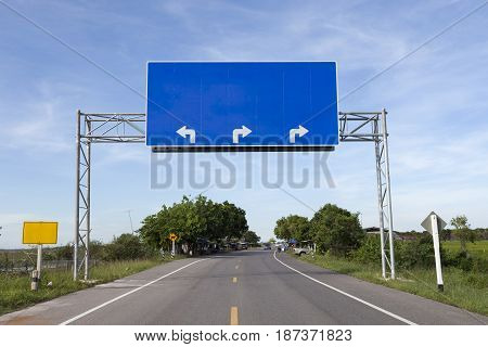 Blank road sign on highway road . .