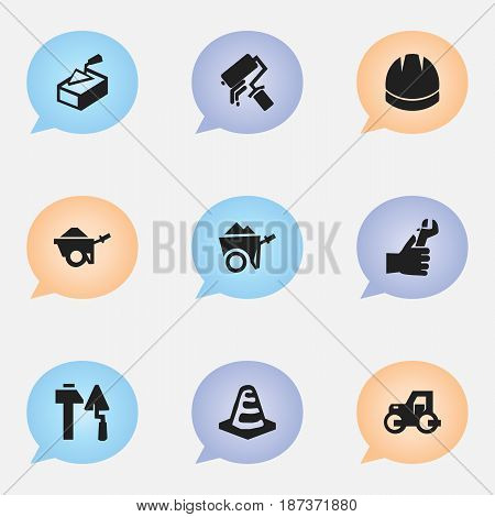 Set Of 9 Editable Building Icons. Includes Symbols Such As Caterpillar, Trolley, Hardhat And More. Can Be Used For Web, Mobile, UI And Infographic Design.