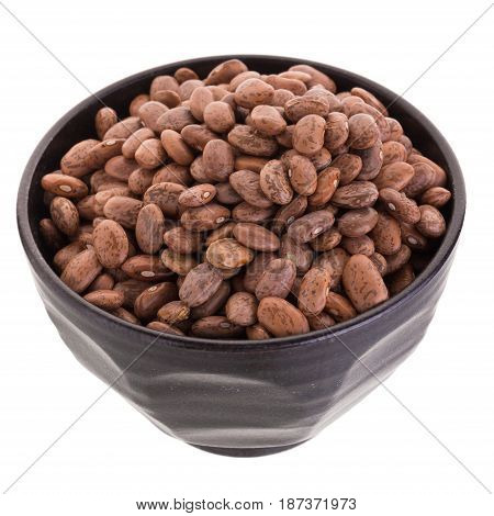 Pinto Beans  In A Ceramic Bowl Isolated On A White Background.