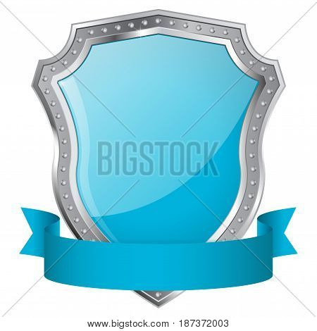 Shield. Blue glossy shield with metal frame and ribbon. Vector illustration