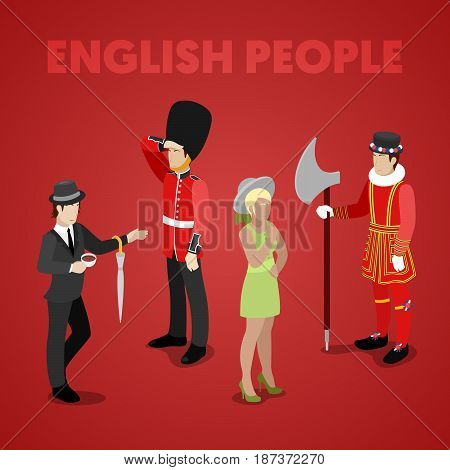 English People with Guardsman, Lady, Gentleman and Bifiter. Isometric vector flat 3d illustration