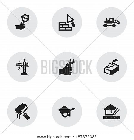 Set Of 9 Editable Building Icons. Includes Symbols Such As Hands , Elevator, Trolley. Can Be Used For Web, Mobile, UI And Infographic Design.