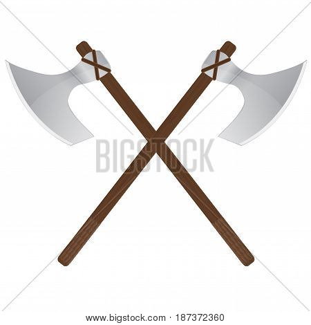 Viking axe. medieval weapons.  Vector illustration isolated on white background