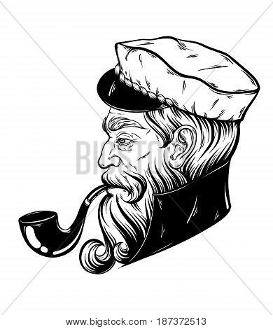 Vector hand drawn illustration of captain with pipe. Tattoo artwork in realistic style. Template for card poster banner print for t-shirt coloring books.