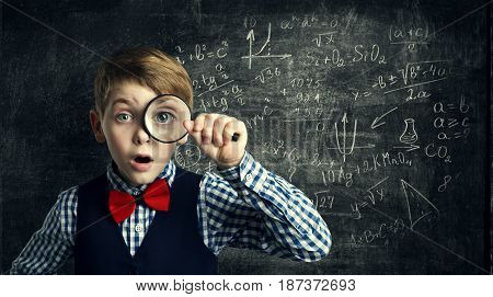 Child Magnifying Glass Amazed School Kid Student Boy with Magnifier Study Mathematics Math Education