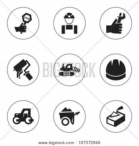 Set Of 9 Editable Structure Icons. Includes Symbols Such As Endurance, Hardhat, Caterpillar And More. Can Be Used For Web, Mobile, UI And Infographic Design.