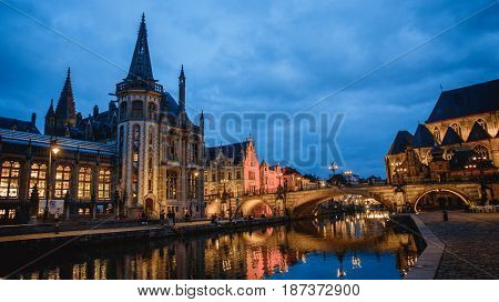 Ghent. Image Of Ghent, Belgium During Twilight Blue Hour