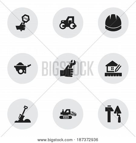 Set Of 9 Editable Construction Icons. Includes Symbols Such As Mule, Construction Tools, Trolley And More. Can Be Used For Web, Mobile, UI And Infographic Design.