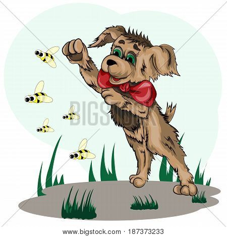 Vector illustration of a little puppy playing with bees on the lawn