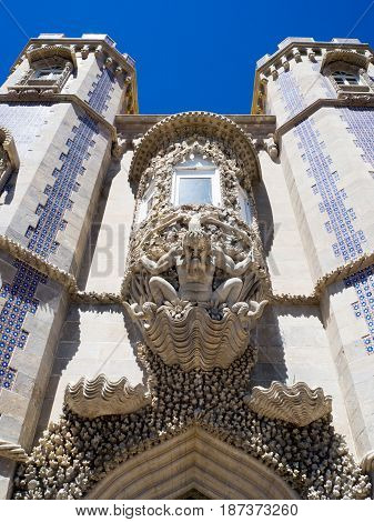 Stone Carved Under A Window In Pena Palace, Sintra, Portugal