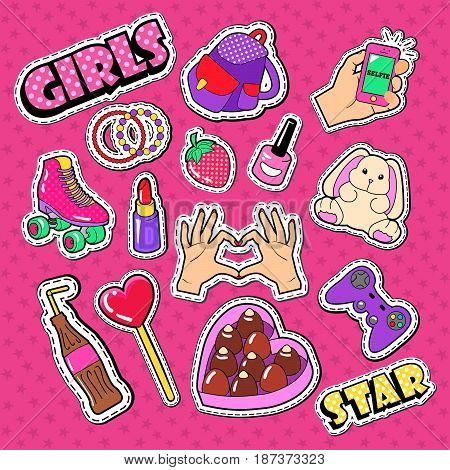 Teenager Girl Stickers, Patches and Badges. Woman Fashion Doodle with Hands, Lipstick and Strawberry. Vector illustration