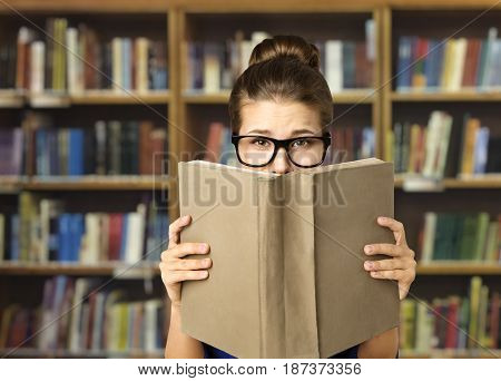 Student Read Open Book Eyes in Glasses and Books Blank Cover Woman Study in Library Education