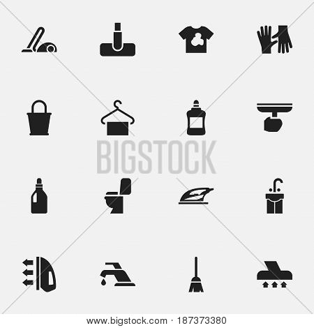 Set Of 16 Editable Dry-Cleaning Icons. Includes Symbols Such As Laundry Detergent, Exhauster, Gauntlet And More. Can Be Used For Web, Mobile, UI And Infographic Design.