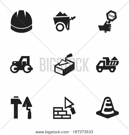 Set Of 9 Editable Construction Icons. Includes Symbols Such As Camion, Spatula, Hardhat And More. Can Be Used For Web, Mobile, UI And Infographic Design.
