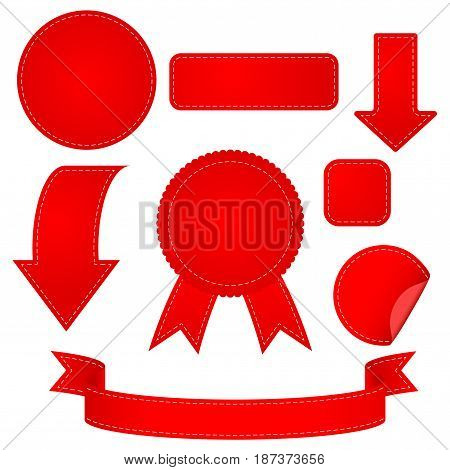 Stickers, ribbon and arrow. Set red web elements. Vector illustration isolated on white background.