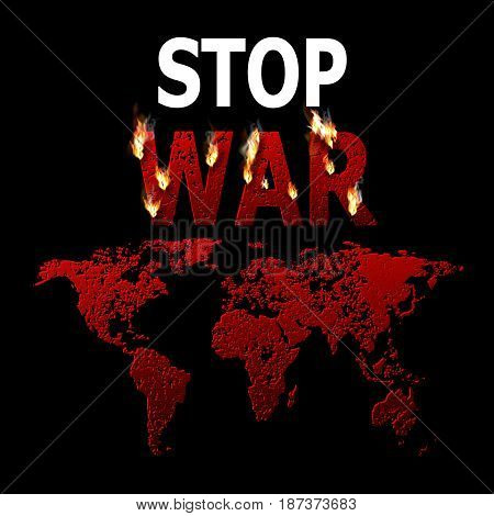 Stop war. The burning word. Concept of the ban of military operations. Stop of the global conflict. The world is in danger. Press. Vector illustration.