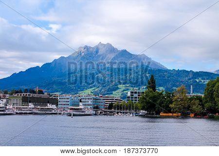 Mount Pilatus In Lucerne, Switzerland. Summer. Lake Lucerne.
