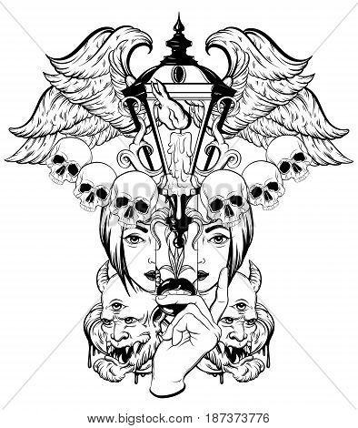Vector hand drawn surreal illustration. Composition with lantern woman face human skull devil wings. Tattoo artwork. Template for card poster banner print for t-shirt coloring book.