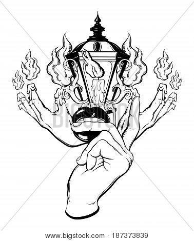 Vector hand drawn surreal illustration of melting hands vintage lantern woman hand with mouth. Tattoo artwork. Template for card poster banner print for t-shirt coloring book.