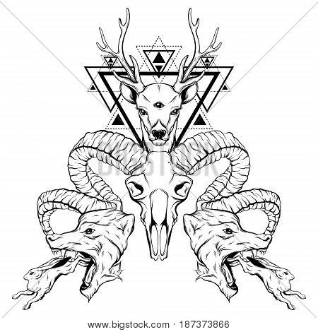 Vector hand drawn surreal illustration of animals. Composition with wolves rabbits dear ram skull. Tattoo artwork. Template for card poster banner print for t-shirt coloring book.