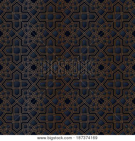 Arabic pattern. Arabesque seamless beautiful oriental islam pattern. Abstract vector background. Golden and black colors.