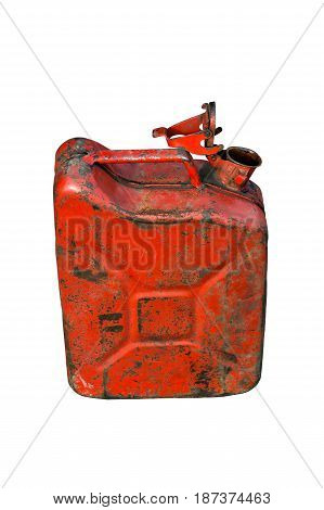 Gasoline old damaged can isolated on white background