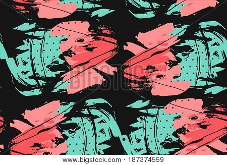Hand drawn vector abstract collage seamless pattern with watermelon fruit isolated on black background.Unusual decoration for summer time wedding, birthday, save the date, journalling, fashion fabric