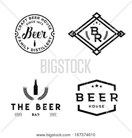 Set of vintage retro badges on pub theme. Beer labels in vintage style.