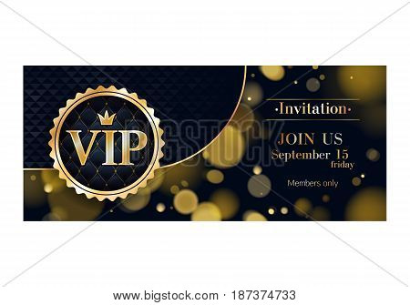 VIP club party premium invitation card poster flyer. Black and golden design template. Golden bokeh glow and black mosaic vector background.