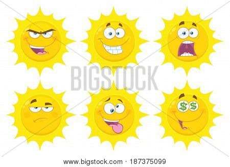 Funny Yellow Sun Cartoon Emoji Face Series Character Set 3. Flat Design Collection Isolated On White