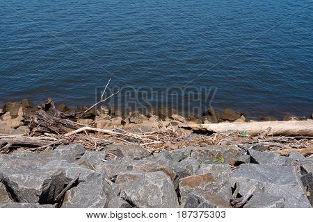Sticks and rocks by the shoreline of a river