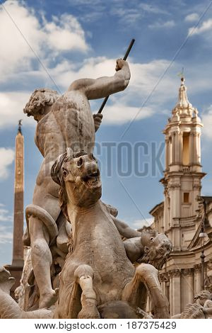 Detail of the Neptune Fountain at Piazza Navona, sunset, Rome, Italy