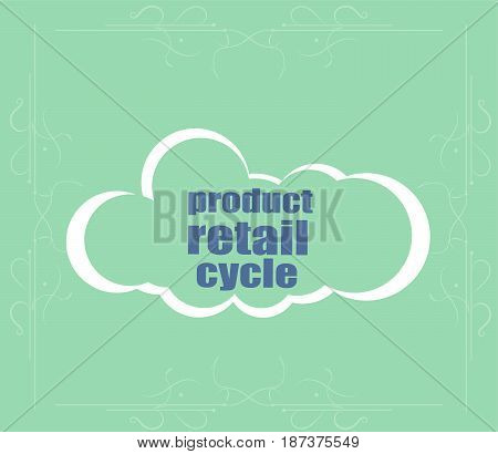 Text Product Retail Cycle. Business Concept . Abstract Cloud Containing Words Related To Leadership