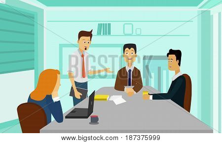 Business people meeting discussing ideas and concepts. Table Discussion Corporate Concept Illustration Vector.