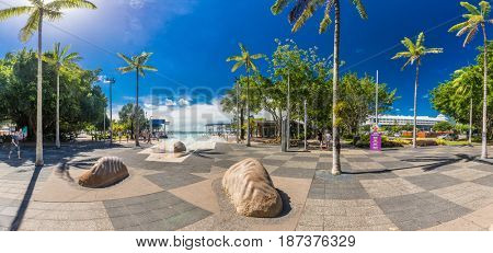 CAIRNS; AUSTRALIA - 17 APRIL 2017. Tropical swimming lagoon on the Esplanade in Cairns with artificial beach; Queensland; Australia.