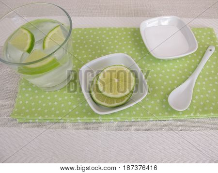 Glass of homemade soda water with lemon