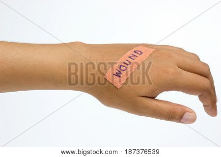 Medical plaster on the wound in women hand on white background.