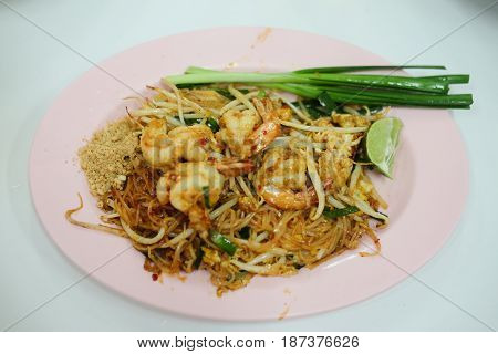 Prawns pad Thai with a variety of other fine Thai food dishes