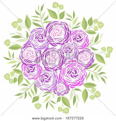 Vector illustration of ranunculus flower. Decoration bouquet of flowers and leaves