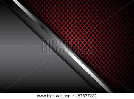 Abstract silver line gray metal red circle mesh design modern luxury background texture vector illustration.