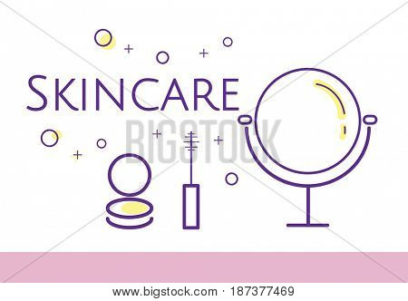 Illustration of beauty cosmetics makeover skincare