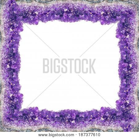 macro photo of lilac amethyst druse frame isolated on white background
